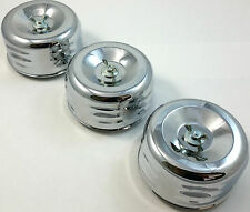 """3 Chrome Louvered 4 x 2 Air Cleaner Kit For 2-1/16"""" & 2-5/8"""" Carburators Chevy"""