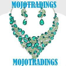Chunky Green Crystal Rhinestone Evening Necklace Statement Jewelry Set