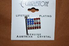 Flag Pin Austrian Crystals America July 4th Politics USA Red Blue Free Shipping