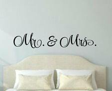 MR AND MRS Bedroom Couple Wedding Gift Vinyl Wall Decal Decor Words Lettering