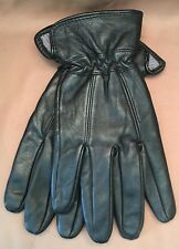 Genuine Santoni Fine Leather Men's Gloves - Black, Medium