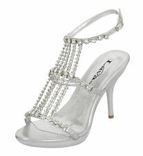 """NEW Star Rhinestone Silver 4"""" Prom Pageant Evening Shoe by Lava #2335 Size 7"""