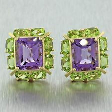 Vintage Estate 14k Solid Yellow Gold Amethyst Peridot Gemstone Earrings