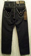 GOTHIC Black Velvet STUDS Crest Buttons Boot Cut SACRED CULT Denim Jeans! 30/33