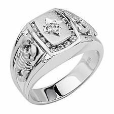 Mens 925 Sterling Silver Polished Rhodium man made diamond Scorpion Ring Sz 8-12