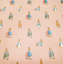 Motif Vintage Wallpaper Peter Rabbit Beatrix Potter Pink Gingham Nursery
