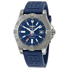Breitling Avenger II GMT Automatic Blue Dial Blue Rubber Mens Watch