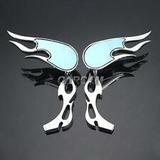 2x Flame Custom Chrome Mirrors For Harley Davidson XL Sportster 1200 Custom