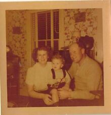 Old Vintage Photograph Mom and Dad With Baby in Retro Livingroom Crazy Wallpaper
