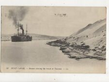 Suez Canal Steamer Crossing Trench of Toussoun [LL 54] 1918 Postcard 941a