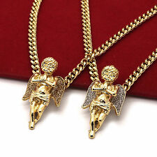 "Men's 14k Gold Plated High Fashion 2 pcs Angels 3mm 30"" & 24"" Cuban Necklace"