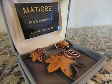 Vintage MATISSE RENOIR Copper Pin Brooch Earrings Set New with Box Signed