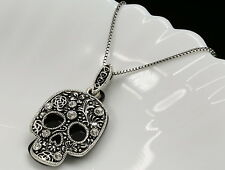 Special skull clear crystal pendant ventage silver plated necklace jewelry S57