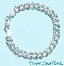 "7"" HEAVY DOUBLE LINK .925 Solid Sterling Silver CHARM BRACELET 8mm Wide ITALY"