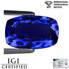 2.84 Ct IGI Certified AAA Natural D Block Tanzanite Blue Violet Cushion Cut