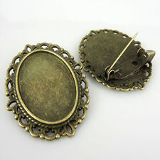 15Pcs Bronze Tone Oval Cameo Frame Setting Brooches 29x36mm (Fit 18x25mm)