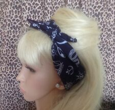 NAVY NAUTICAL SAILOR PRINT COTTON BANDANA HEAD HAIR NECK SCARF 50s ROCKABILLY