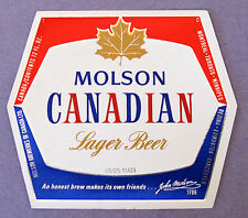 Molson Breweries of Canada MOLSON CANADIAN LAGER foil beer label CANADA 12oz