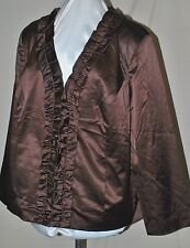 SUSAN GRAVER GORGEOUS SATIN RUFFLE PLACKET JACKET FULLY LINED 2X BROWN SEE PICS