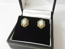 9ct GOLD OPAL SET FANCY STUD EARRINGS   9ct GOLD OPAL STUDS
