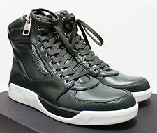 $1,200 Italy DOLCE & GABBANA Benelux Green-Leather High Top Sneakers 43-IT 10-US