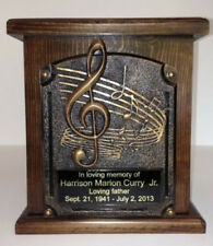 Music Lovers Cremation Urn, Wood Funeral Urns, with Free Engraving