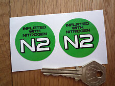Inflated With Nitrogen N2 Tyre STICKERS 40mm Pair Race Car Bike Racing F1 Rally