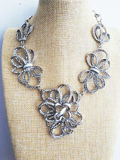 Designer Inspired Luxury Glamours Floral Crystal Silver Necklace Xmas gift idea