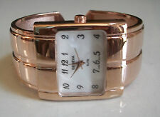LADIES DESIGNER STYLE ROSE GOLD FINISH BANGLE CUFF FASHION WATCH
