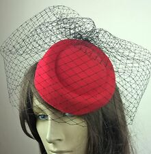 red felt mini pill box hat black veiling french veil fascinator wedding race