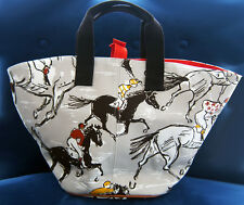 New Authentic Hermes Finish beach canvas tote bag Natural Horses equestrian 22''