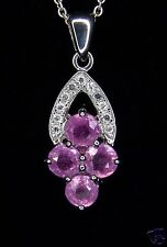 3.07cts Genuine Zambian Pink Sapphire w/White Topaz 925 Sterling Silver Pendant
