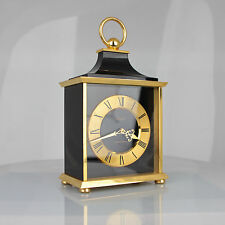 Vintage Imhof Black Gilt Brass Swiss Carriage Mantel Clock