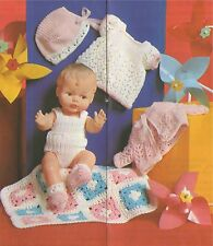 Doll Clothes Knitting Pattern & Crochet Doll Cot Cover : 12 - 14 inch baby doll