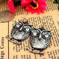 Vintage retro antique silver owl charm dangle earrings