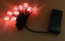 LED Holiday Lights10 Orange/Red Color Bulbs Ultra 120 Hour Uses AA Batteries 95S