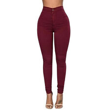Women Slim Pencil Trousers Denim Skinny Leggings Pants High Waist Stretch Jeans
