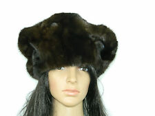 DARK BROWN MINK FUR  HAT BONNET HUGE BERET Sz. 22.5'' Нoрка-Nerz-Visone-貂皮 262