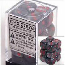 Chessex Dice d6 Set 16mm Velvet Black with Red Pips 6 Sided Die 12 CHX 27678