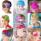 Baby Girl Kids Infant Toddler Feather Headband Flower Hairband Hairdress B52U