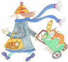 C6 card #MadCatWoman (No.2) blue grey coat, orange ginger cat shopping trolley