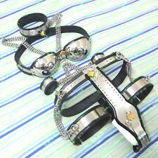NEW Female Stainless Steel Collar Bra Chastity Belt Thigh Wrist Ankle 6pc Set