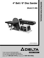 "Delta 31-460 4"" Belt 6"" Disc Sander Instruction Manual"