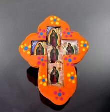 Mexican Folk Art Nicho Wood Cross Our Lady of Guadalupe Wall Hanging