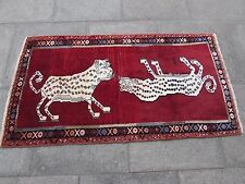 Old Traditional Hand Made Persian Oriental Gabbeh Rug Wool Red 158x83cm