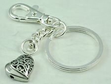 Cremation Filigree Heart Sideway Urn Key Chain Jewelry Memorial with free funnel