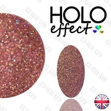 LASER PINK HOLO ROSE GOLD EFFECT Glitter NAIL ART POWDER Holographic   Blush 21