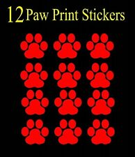 12 RED Paw Print Decals, Sticker, Car, Truck, Window, lap top, Bumper, cat dog