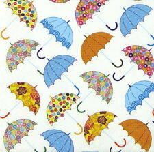 4x Single Table Party Paper Napkins for Decoupage Vintage Colorful Umbrellas