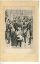 ANTIQUE VICTORIAN MAN MONOCLE EYEGLASSES TOP HAT SUIT FANCY ART SHOW OLD PRINT